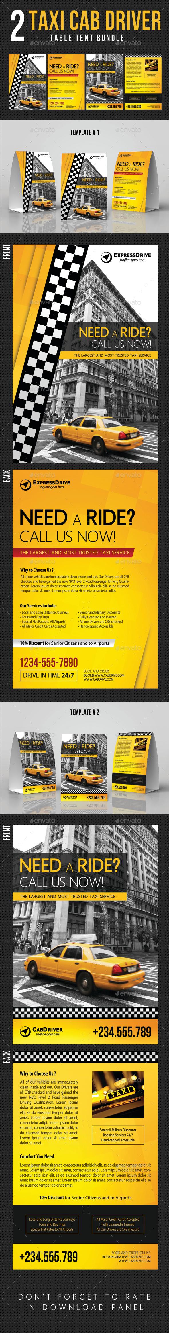2 Taxi Cab Drive Table Tent Bundle - Miscellaneous Print Templates