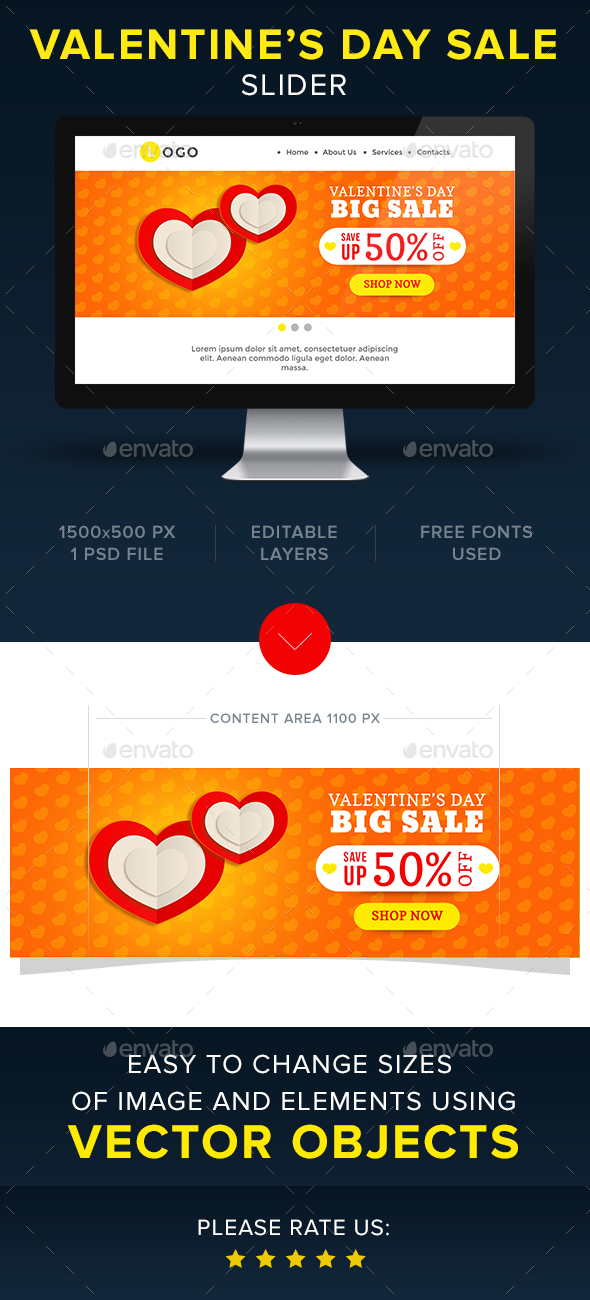 Valentine's Sale Slider - Sliders & Features Web Elements
