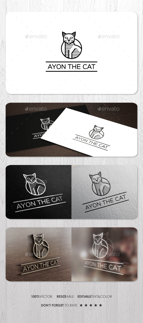 Ayon The Cat Logo - Animals Logo Templates
