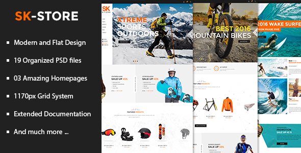 SK Store - Unique Shop PSD Template for Sport and Athletes