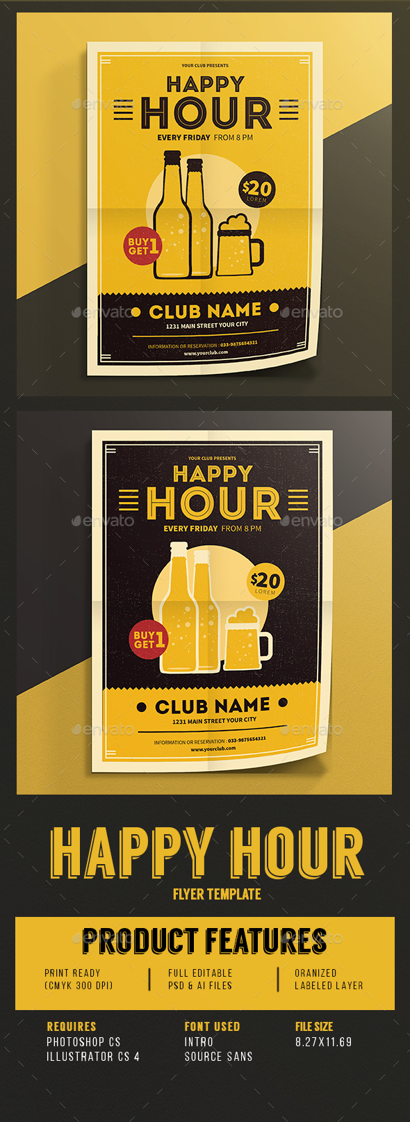 Happy Hour Beer Promotion Flyer Vol.03 - Events Flyers