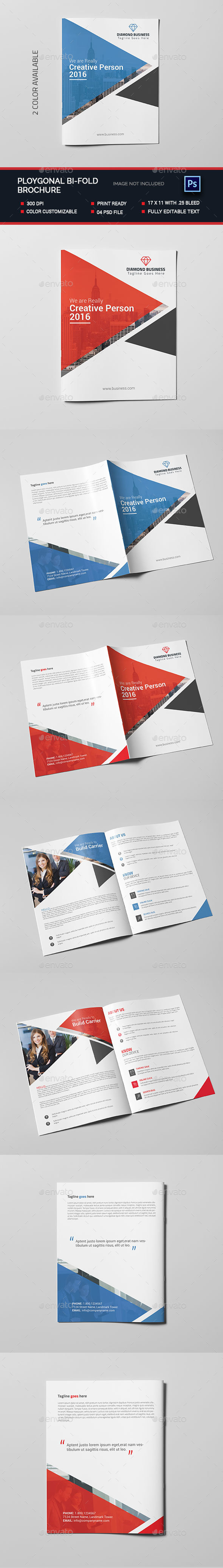 Polygonal Bi-fold Brochure - Brochures Print Templates