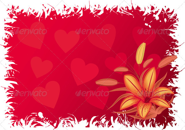Valentines grunge background with hearts - Valentines Seasons/Holidays