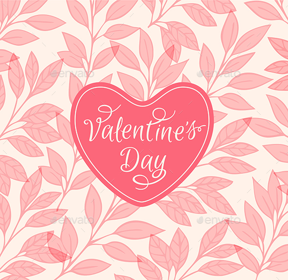 Pink Floral Background with Heart  - Valentines Seasons/Holidays