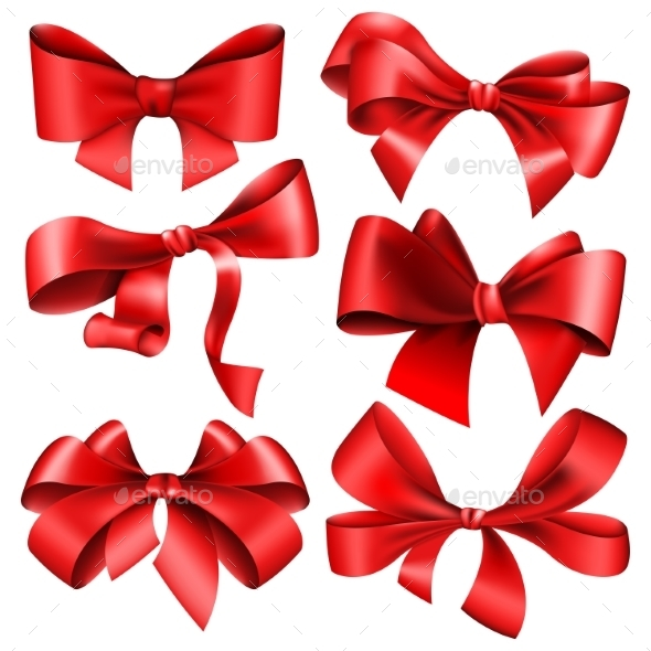 Set of 6 Red Bows - Valentines Seasons/Holidays