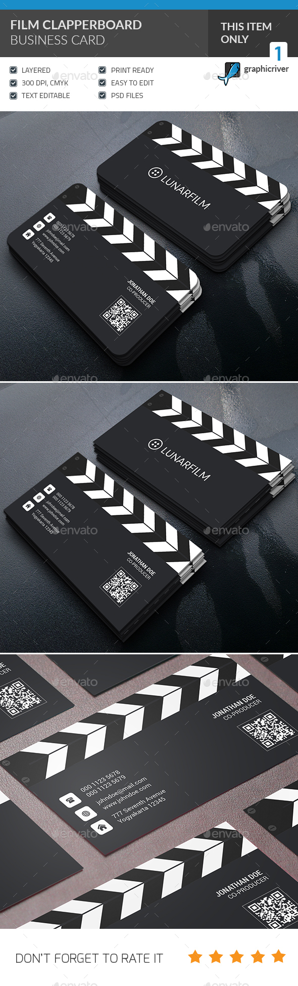 Film Clipperboard Business Card - Industry Specific Business Cards