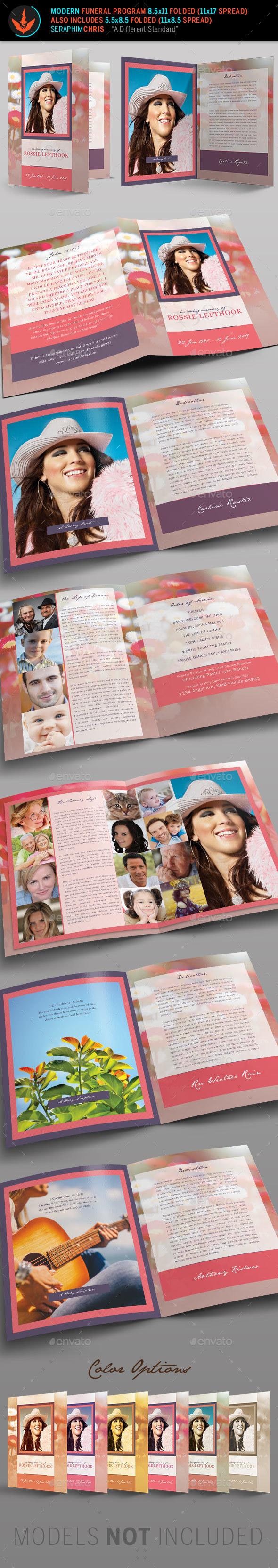 Modern Funeral Program Template - Brochures Print Templates