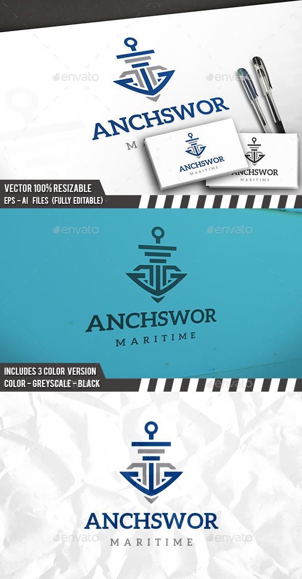Anchor Sword Logo - Vector Abstract