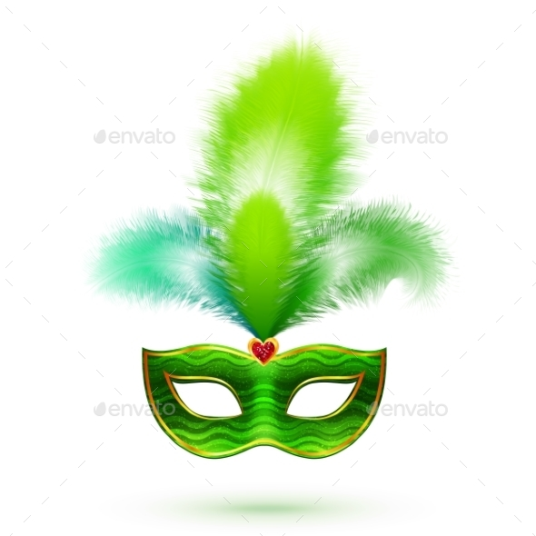 Green Venetian Carnival Mask with Feathers - Backgrounds Decorative