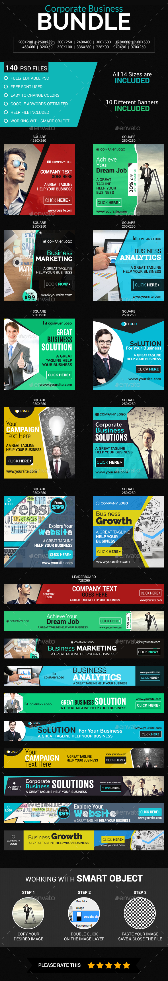 Corporate Business Bundle Banners - Banners & Ads Web Elements