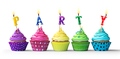 Colorful party cupcakes on white - PhotoDune Item for Sale