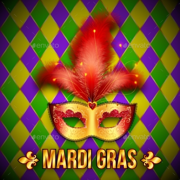 Gold and Red Carnival Mask on Colorful Grid - Backgrounds Decorative