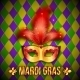 Gold and Red Carnival Mask on Colorful Grid - GraphicRiver Item for Sale