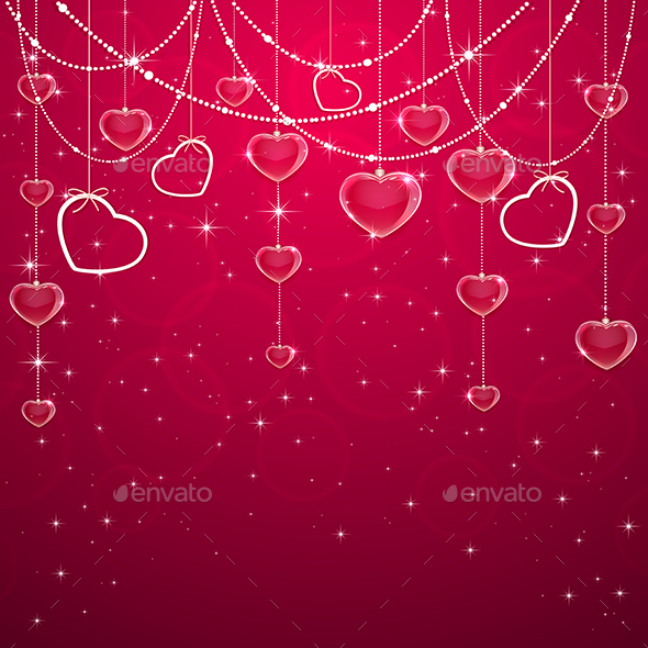 Pink Valentines Decoration with Hearts - Valentines Seasons/Holidays