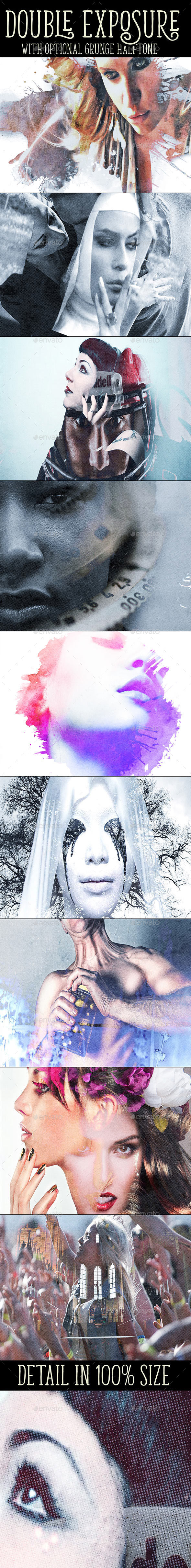 Double Exposure with Optional Grunge Overlay - Photo Templates Graphics