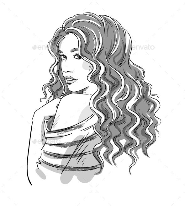 Sketch of a Girl with Curly Hair - People Characters
