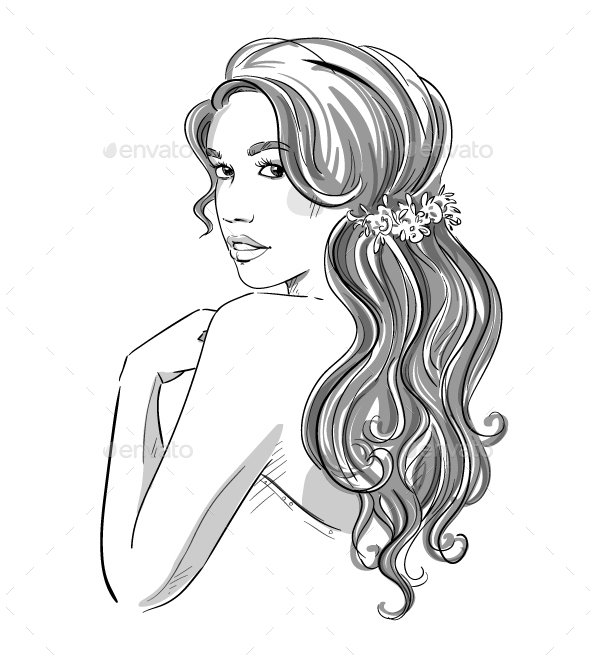 Sketch of a Girl with Bridal Hairstyle - People Characters
