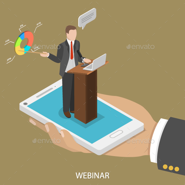 Web Conference Flat Isometric Concept - Media Technology