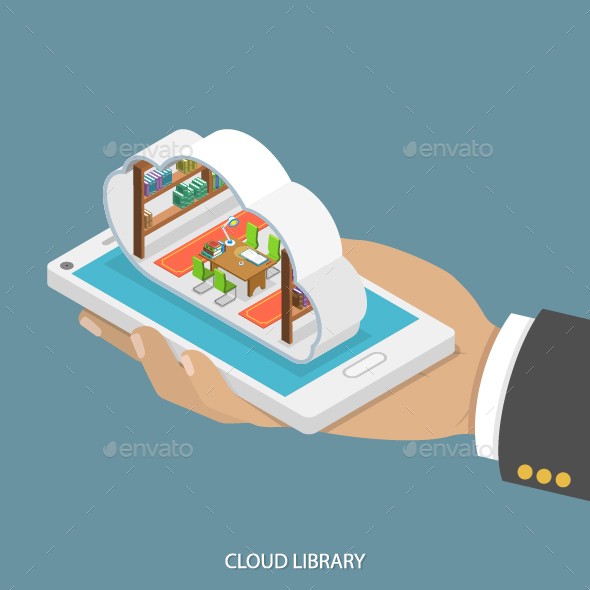 Cloud Library Flat Isometric Concept - Computers Technology