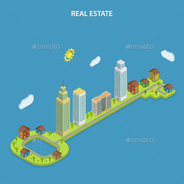 Real Estate Online Searching Isometric Concept - Industries Business