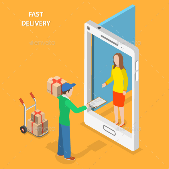 Fast Delivery Flat Isometric Concept