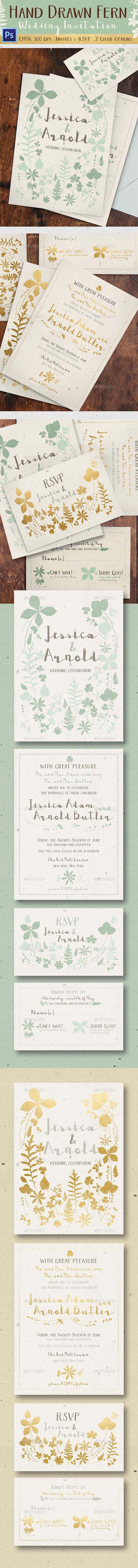 Hand Drawn Fern Wedding Invitation - Weddings Cards & Invites