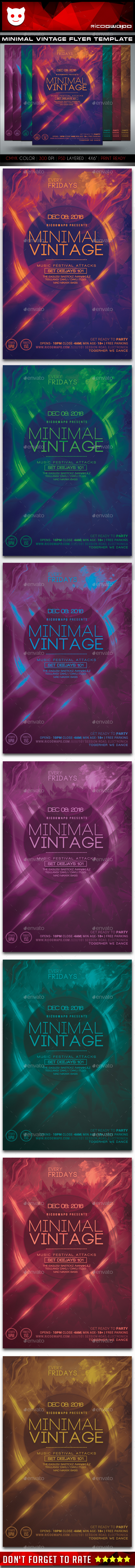 Minimal Vintage Flyer Template - Clubs & Parties Events