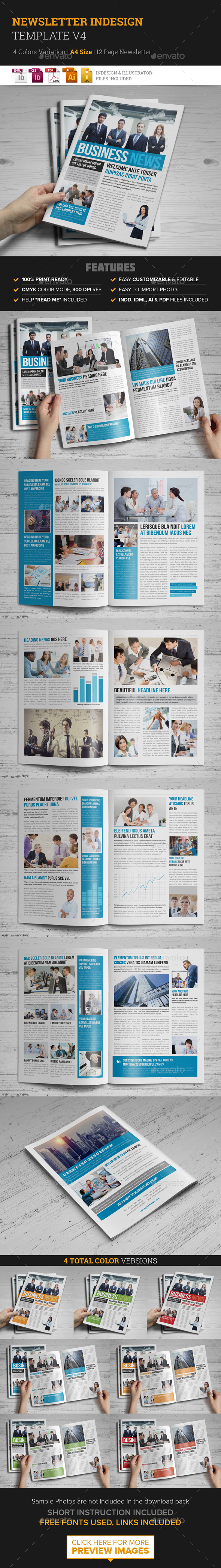 Newsletter Indesign Template v4 - Newsletters Print Templates