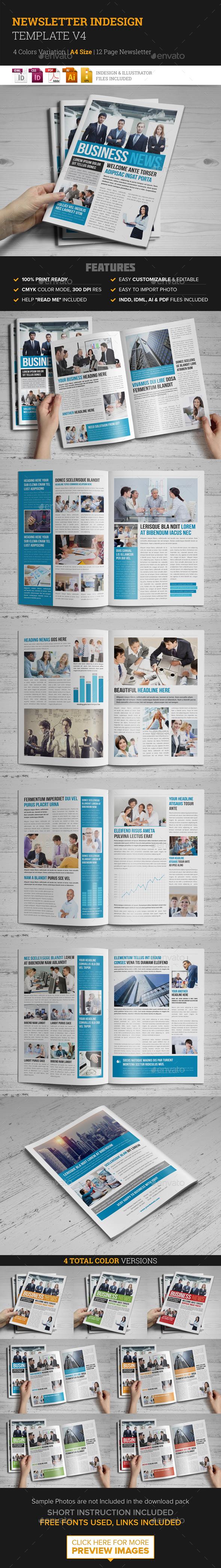 Newsletter Indesign Template v4 - Newsletters Print Templates