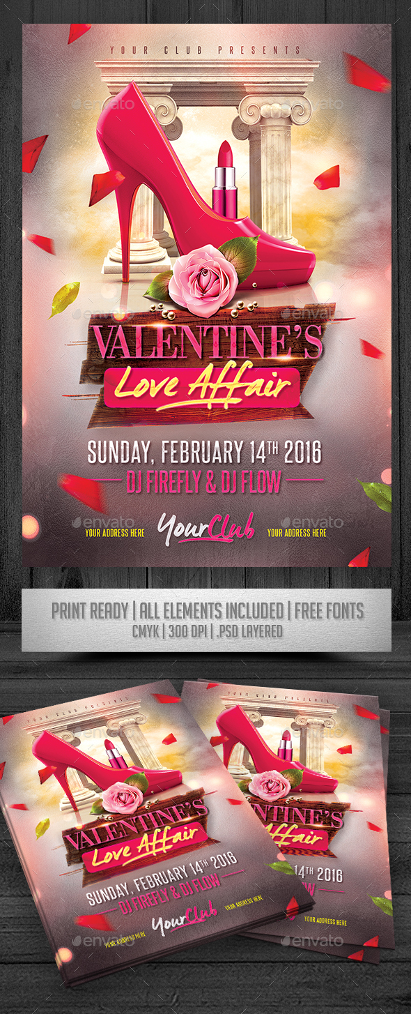 Valentine's Love Affair Flyer - Events Flyers
