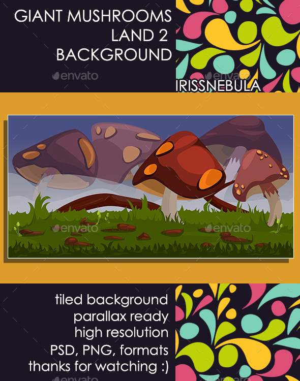 Giant Mushrooms Land Background - Backgrounds Game Assets