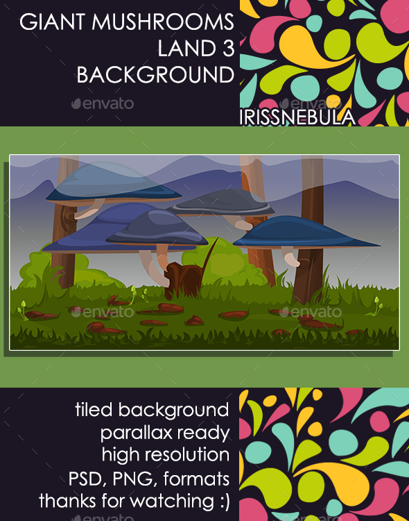 Giant Mushrooms Land Background 3 - Backgrounds Game Assets