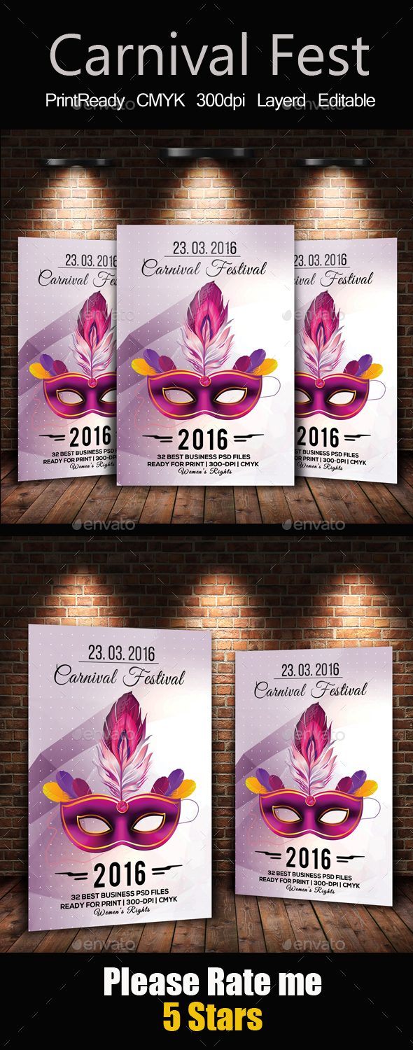 Mardi Gras Carnival Flyer - Holidays Events