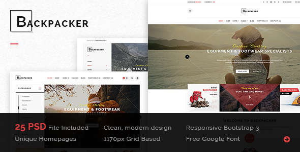 BackPacker – Multipurpose eCommerce PSD Template