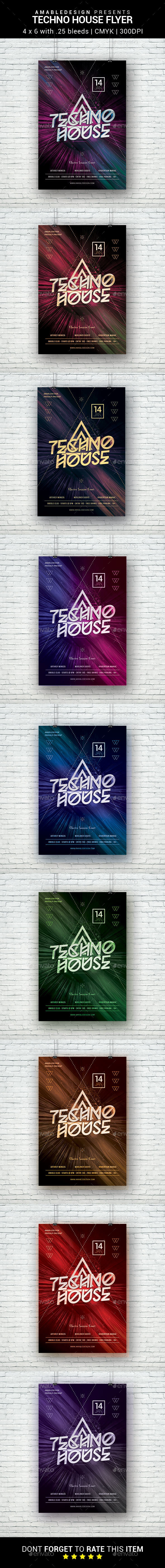 Techno House Flyer - Clubs & Parties Events
