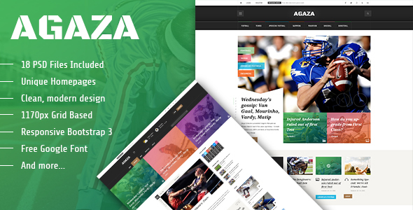 Agaza – News & Magazine PSD Template