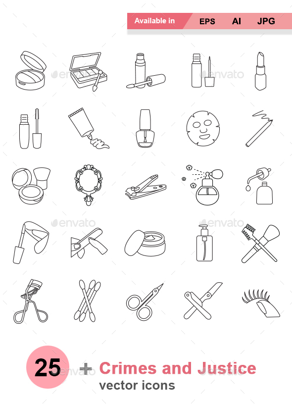 Beauty products outlines vector icons - Man-made objects Objects