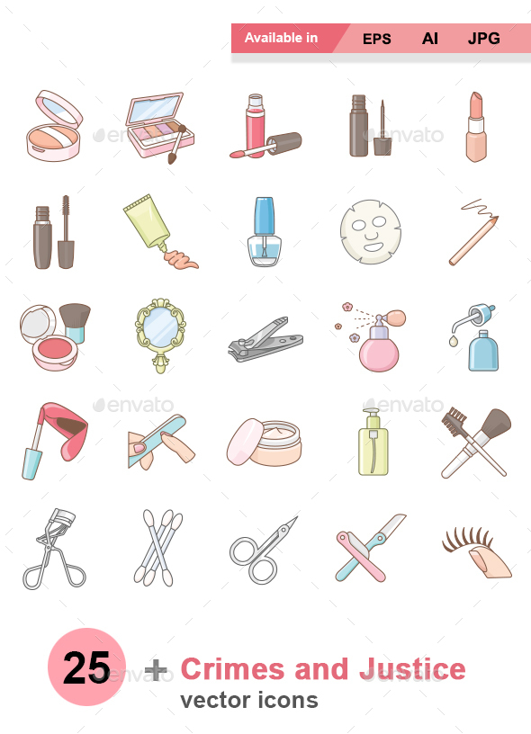 Beauty products color vector icons - Man-made objects Objects