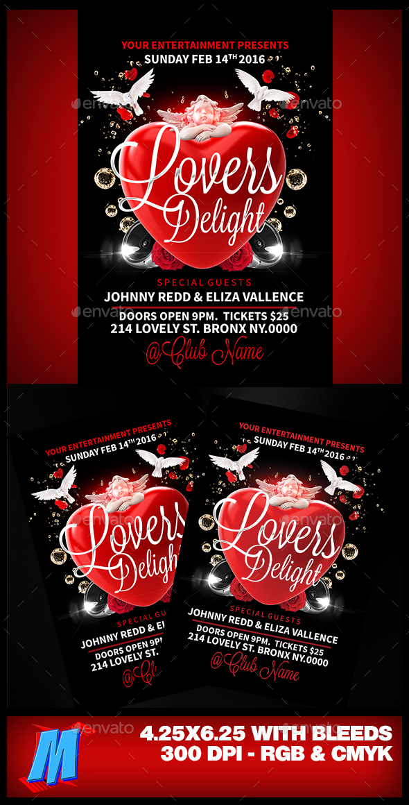 Lovers Delight Flyer Template - Clubs & Parties Events