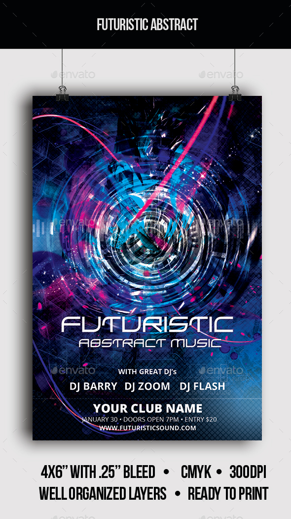 Futuristic Abstract Music - Flyer - Clubs & Parties Events