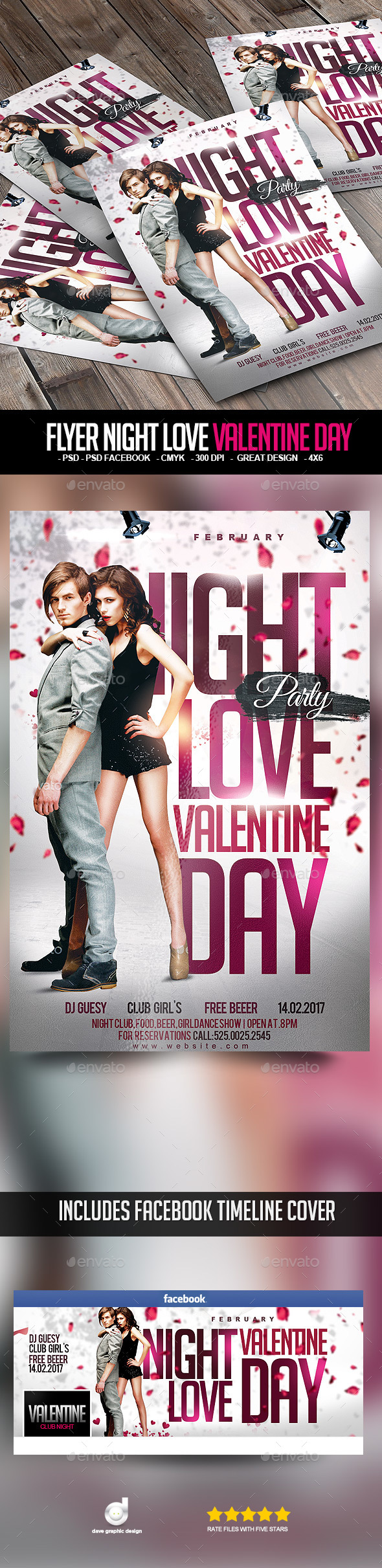 Flyer Night Love Valentine Day - Clubs & Parties Events