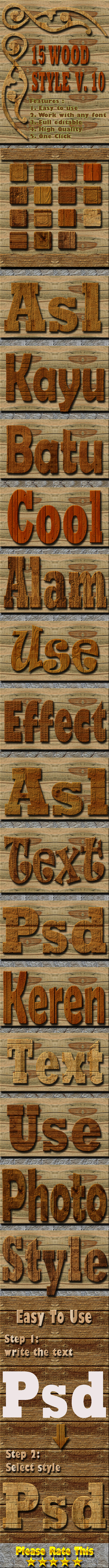 15 Wood Text Effect Style Vol 10 - Styles Photoshop