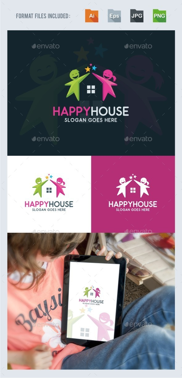 Happy House Logo Template - Symbols Logo Templates