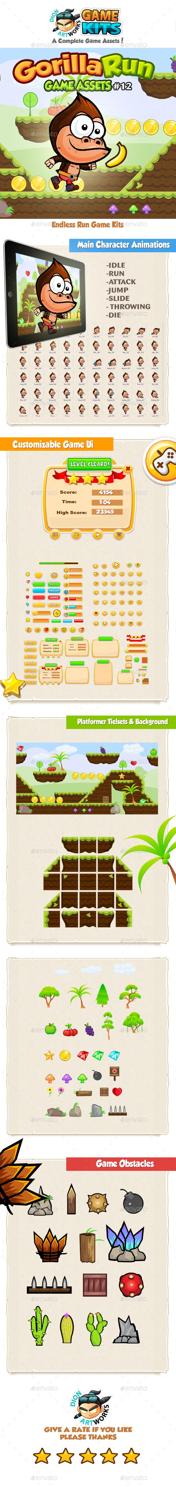 Gorilla Run Platformer Game Assets 12 - Game Kits Game Assets