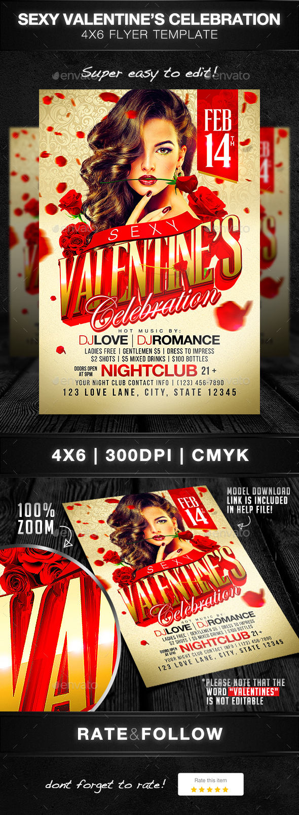 Sexy Valentine's Celebration Flyer Template - Holidays Events