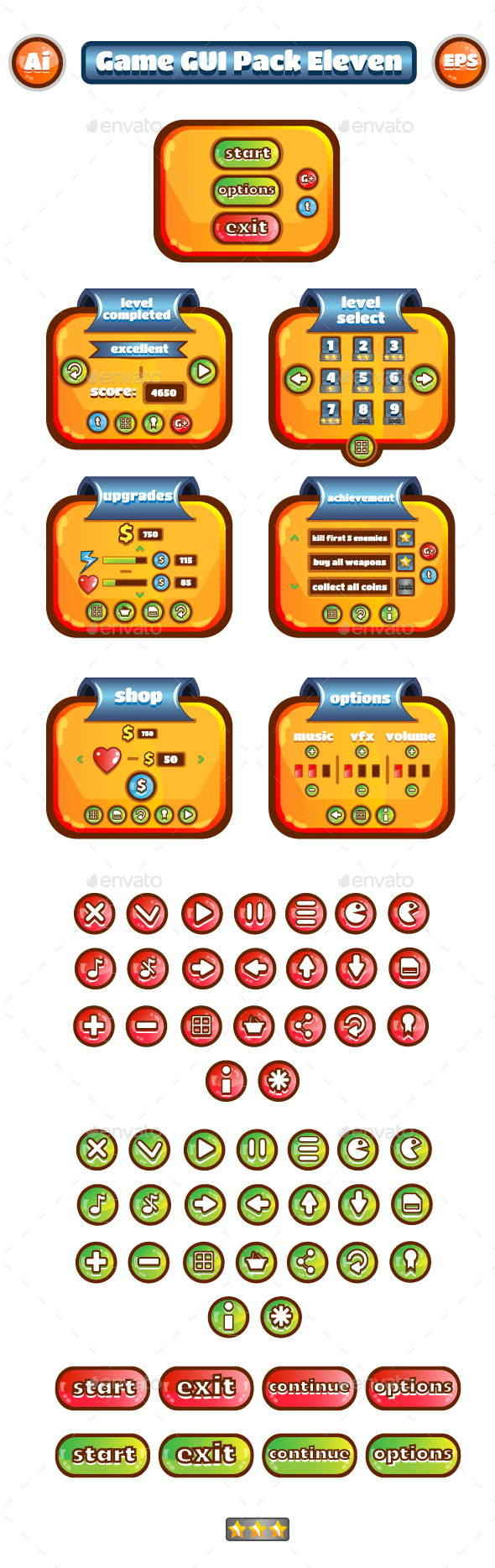 Game GUI Pack Eleven - User Interfaces Game Assets