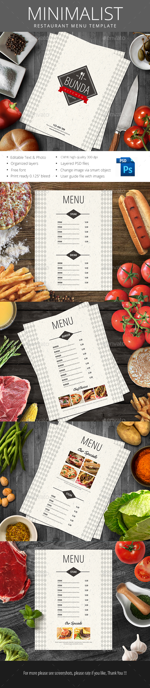 Minimalist Restaurant Menu - Food Menus Print Templates