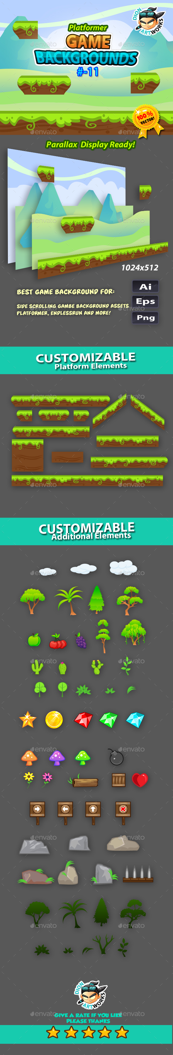 Plaftormer Game Backgrounds11 - Backgrounds Game Assets
