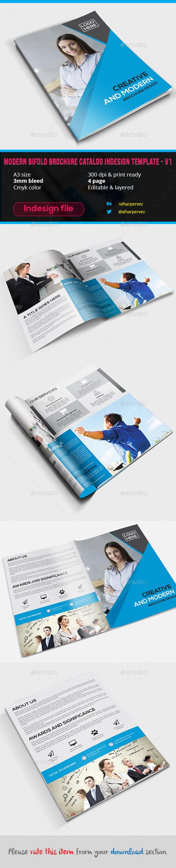 Modern Bifold Brochure Catalog Indesign Template - V1 - Corporate Brochures