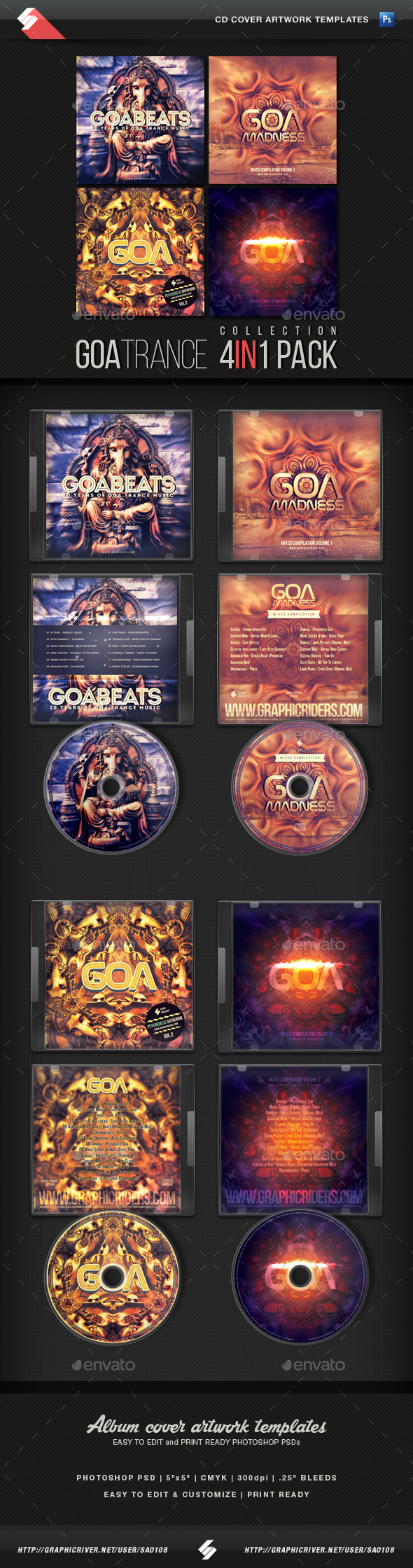 Goa Trance - CD Cover Templates Bundle - CD & DVD Artwork Print Templates